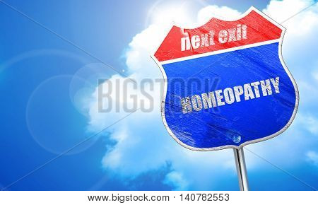 homeopathy, 3D rendering, blue street sign