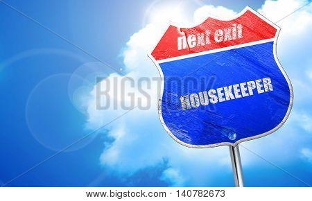 housekeeper, 3D rendering, blue street sign