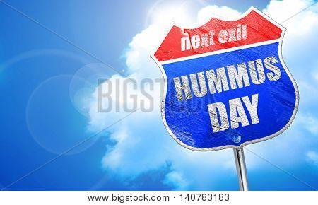 hummus day, 3D rendering, blue street sign