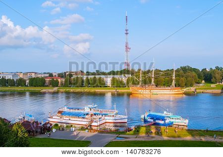 VELIKY NOVGOROD RUSSIA-JULY 29 2016. View from height at sailboats at the pier and Volkhov river in Veliky Novgorod Russia
