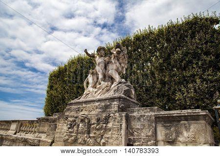 Statue Of Lion And Cherub From Montpellier Promenade Du Peyrou