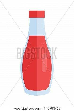 Bottle with sauce vector. Flat design. Small jar filled ketchup, tomato paste, chilli. Cooking base product concept. Illustration for icon, label, print, logo, menu design. Isolated on white