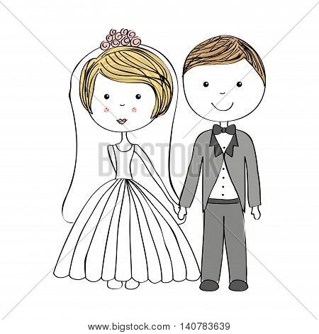 just married couple drawn icon vector illustration design