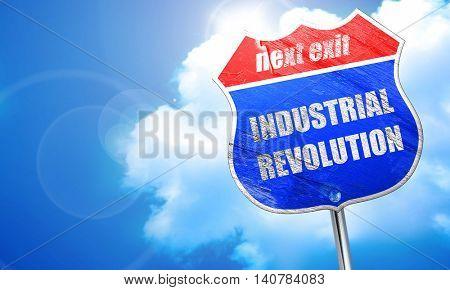 Industrial revolution background, 3D rendering, blue street sign