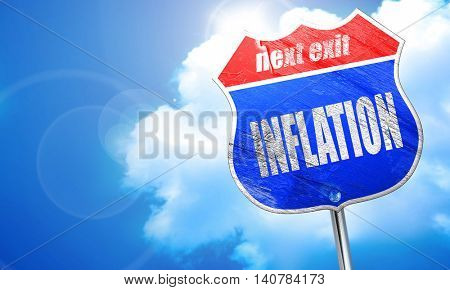 Inflation sign background, 3D rendering, blue street sign