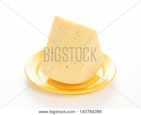 Gouda cheese on a yellow plate isolated on white background
