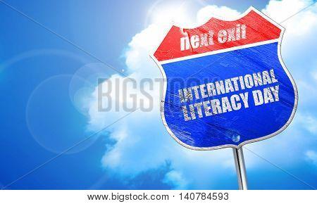 international literacy day, 3D rendering, blue street sign
