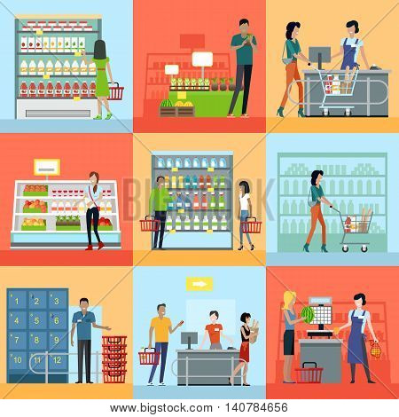 Set of shopping concepts vectors in flat design. Customers service and working process in supermarket. Consumer choice and merchandising strategy. Store assortment. Cashier, seller, guard at work.
