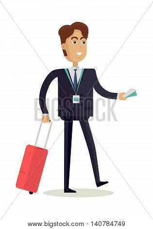 Businessman character vector. Cartoon in flat style design. Smiling man in suite with baggage and tickets. Illustration for business trip concepts, icons, infographics. Isolated on white background.
