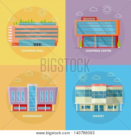 Supermarket icons set. Flat design. Modern commercial building icons collection for web design, app pictogram, banners. Shop, shopping center, mall, business center on color background.