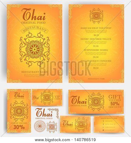Thai Food restaurant menu template. Luxury Golden flower. Branding. Business card, flyer, vip card and gift voucher. Vector design.