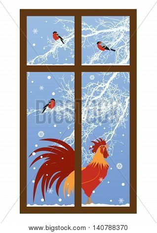 new year window with rooster and bullfinch vector