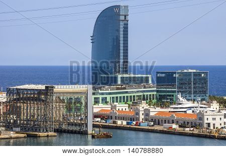 BARCELONA SPAIN - JULY 4 2016: W Barcelona Hotel known as the Hotel Vela (Sail Hotel) designed by Architect Ricardo Bofill. Located on the new entrance of Barcelona's Port.