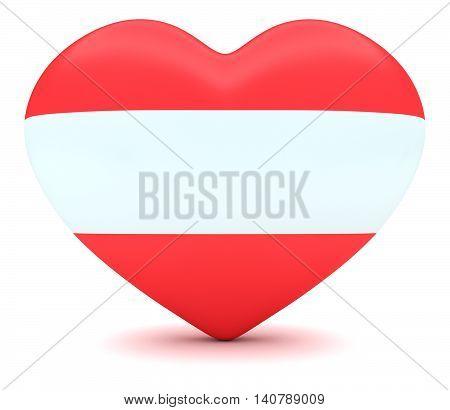 Love Austria: Austrian Flag Heart 3d illustration