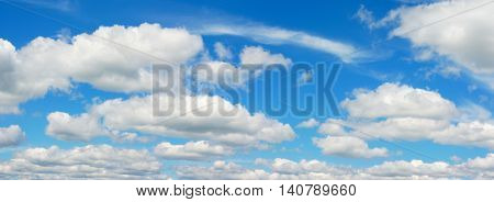 blue sky with cumulus clouds panoramic view environmental meteo