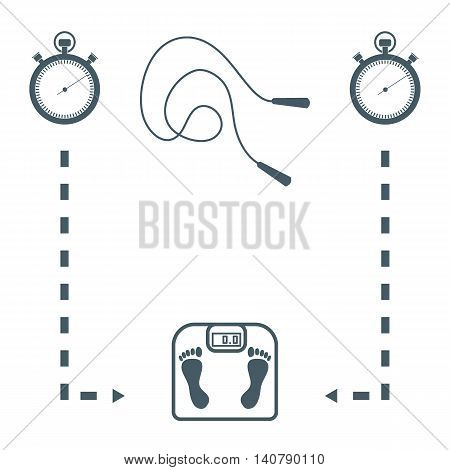 Stylized Icon Of The With Scales, Two Stopwatch, Arrows, Skipping Rope