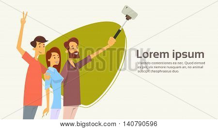People Group Taking Selfie Photo On Smart Phone With Stick Banner Copy Space Vector Illustration