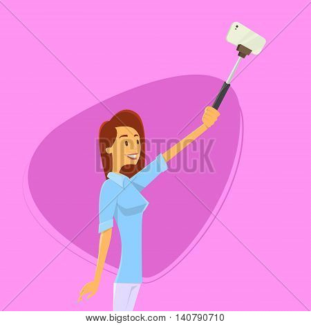 Woman Taking Selfie Photo On Smart Phone With Stick Vector Illustration