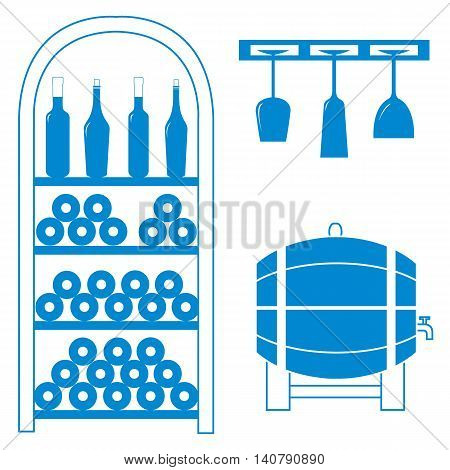 Stylized Icon Of A Colored Wine Rack, Bottles Of Wine, Wine Glasses And Barrel Of Wine On A White Ba