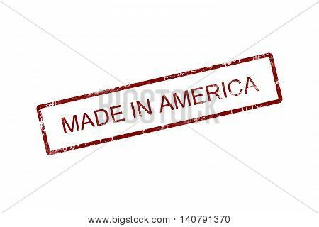 Made in america red stamp text on white
