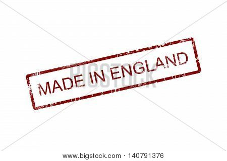 Made in england red stamp text on white