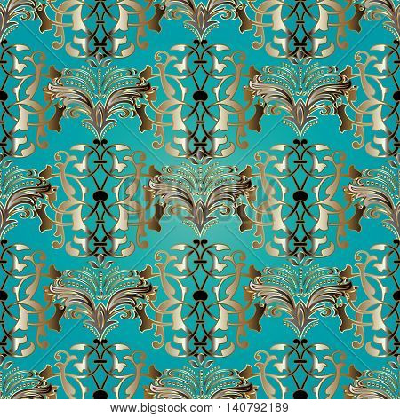Turquoise blue damask vector seamless pattern with gold luxury  volumetric 3d  ornament. Vintage decorative elements  for design in Eastern style. Modern stylish ornate decor with shadows and highlights