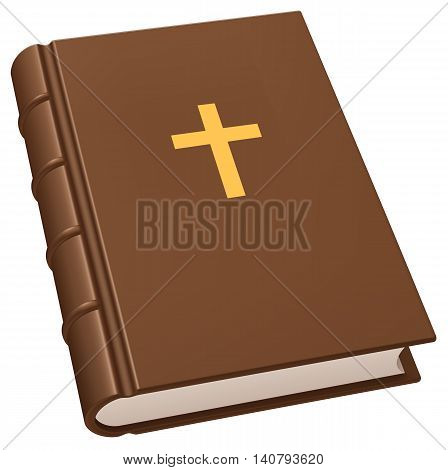 Bible - brown leather christian holy book with golden cross