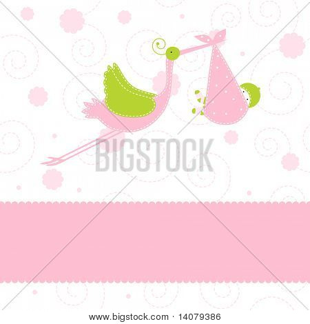 Baby girl arrival announcement card