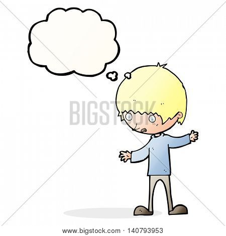 cartoon boy with outstretched arms with thought bubble