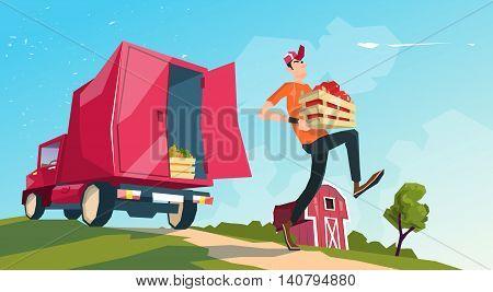 Farm Harvest Transportation Lorry Carrying Fruits Vegetables Flat Vector Illustration