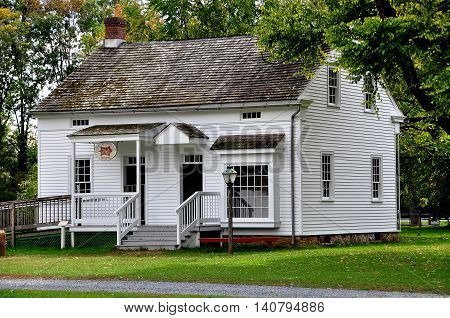 Lancaster Pennsylvania - October 14 2015: C. 1850 Sexton's House from a local church at the Landis Valley Village and Farm Museum