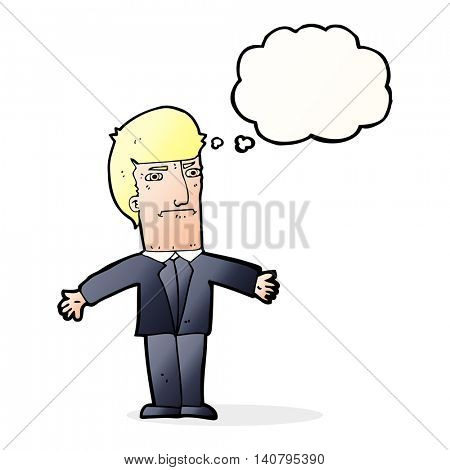 cartoon annoyed boss with thought bubble