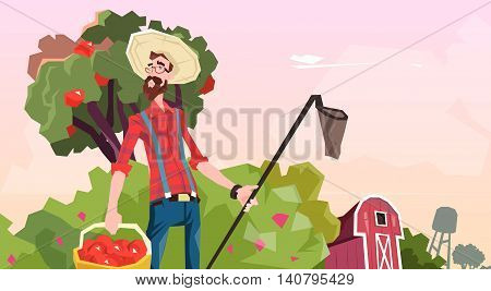 Farmer Gather Apples In Garden Fruit Harvest Flat Vector Illustration