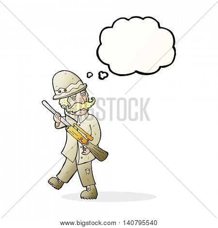cartoon big game hunter with thought bubble
