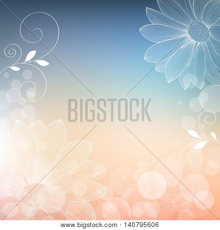 Beautiful abstract  hand drawn floral pattern with zinnia flowers. Vector illustration. Element for design.