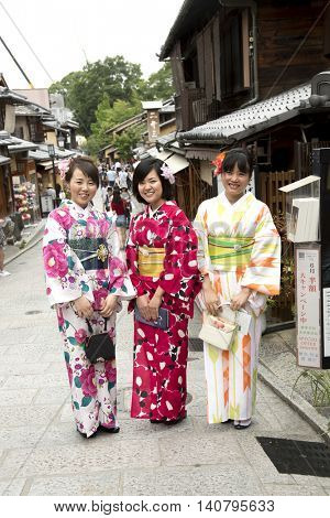 Kyoto, Japan, June 14 , 2016 - Japanese Women In Kimono in Kyoto, Japan