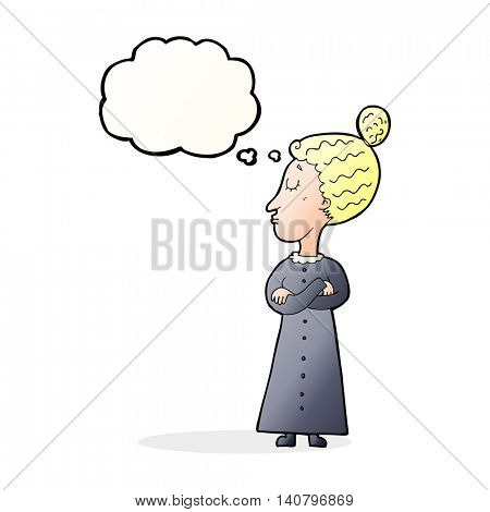 cartoon strict victorian teacher with thought bubble