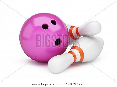 bowling strike 3D rendering 3D illustration on a white background