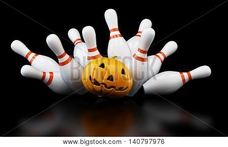 bowling strike halloween. 3D illustration 3D rendering