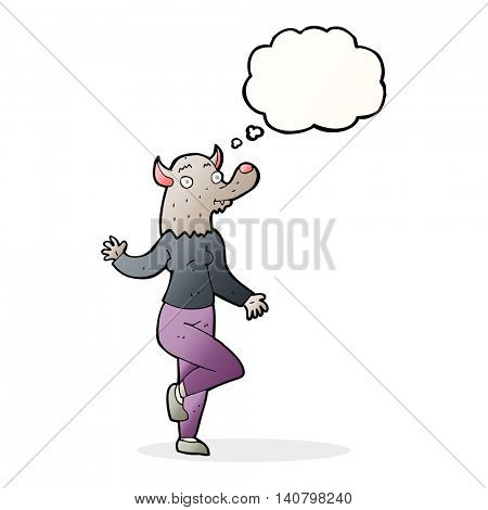 cartoon dancing werewolf woman with thought bubble