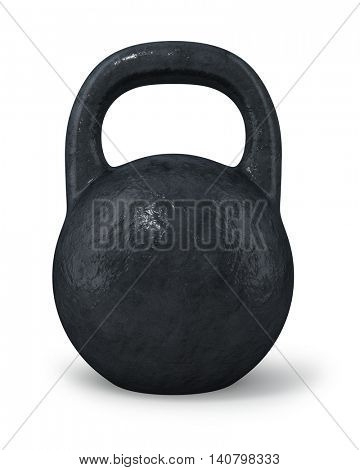 Black iron retro dumbbel isolated on white background. 3D rendering.