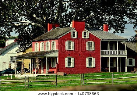 Lancaster Pennsylvania - October 14 2015: 1856 Landis Valley House Hotel built by Jacob Landis Jr. at the Landis Valley Village and Farm Museum