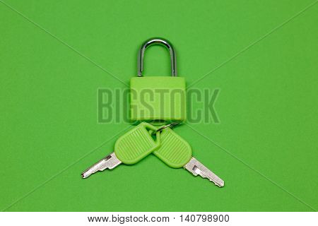 A Padlock with keys on a green background.