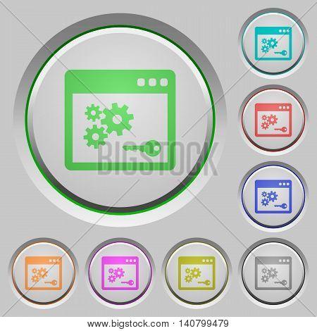 Set of color API key sunk push buttons.