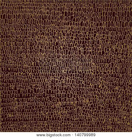 Golden scribble on brown background. Illustration version.