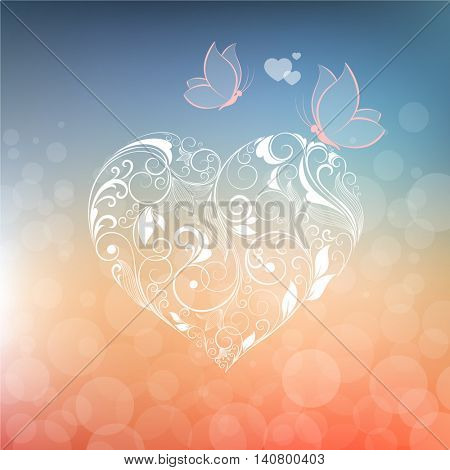 Beautiful background with abstract floral hearts and butterflies for Valentine's day. Element for design. Vector illustration.