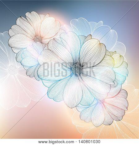 Abstract floral background. Vector flower dahlia. Element for design. Vector illustration.