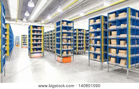 3d image of robot automated modern warehouse