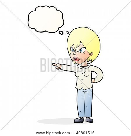 cartoon woman accusing with thought bubble