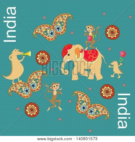 India. Beautiful geographic conceptual pattern with crocodiles, elephant, monkeys, butterflies with paisley ornament.